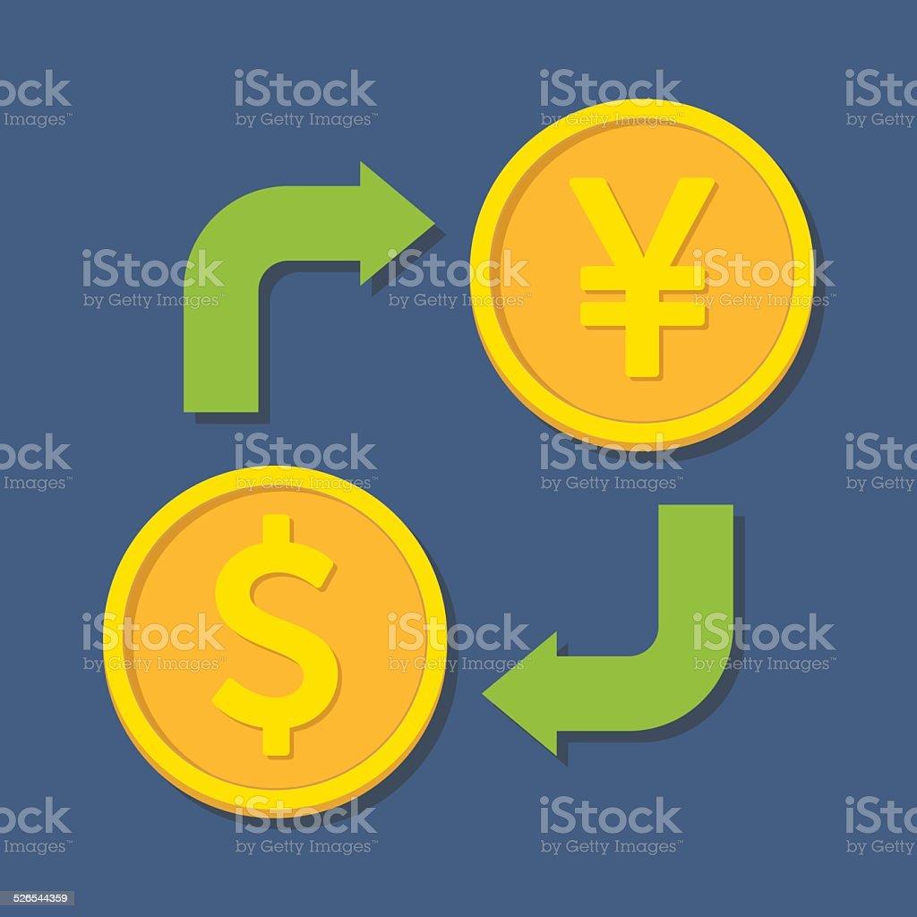 Currency exchange. Dollar and Yen(Yuan). vector art illustration