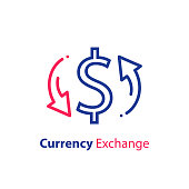 istock Currency exchange, dollar sign and circle arrow, fast loan, financial solution 1190840209