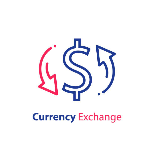 Currency exchange, dollar sign and circle arrow, fast loan, financial solution