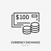 Currency exchange flat line icon. Vector thin sign of cash and coins, money logo. Bank illustration.