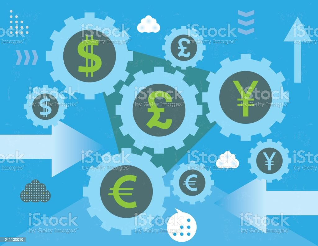 Currency exchange gears and arrows vector art illustration