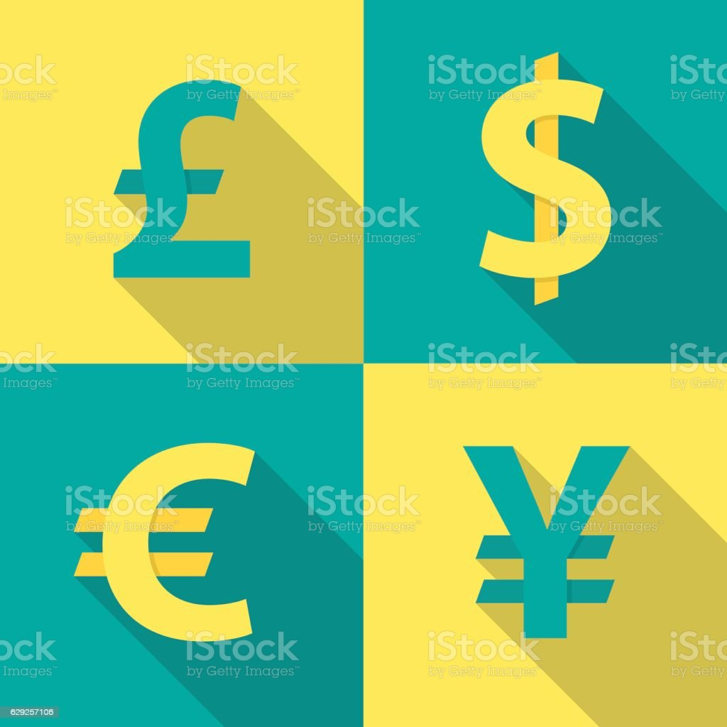 Currency exchange icons. Dollar, euro, pound sterling and yen. vector art illustration