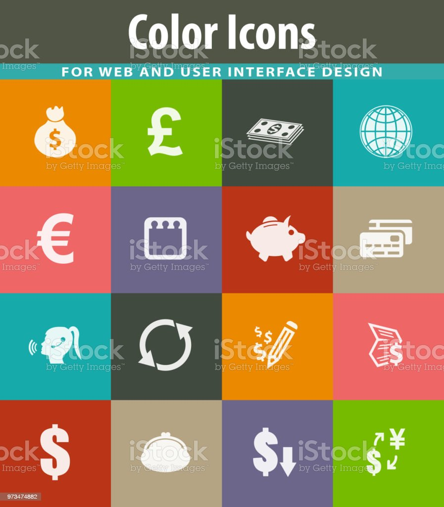 Currency exchange icons set vector art illustration