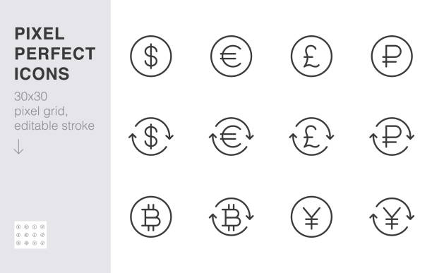 Currency exchange line icon set. Dollar, euro, pound, russian ruble, yen, bitcoin minimal vector illustration. Simple outline money sign for financial application. 30x30 Pixel Perfect Editable Stroke Currency exchange line icon set. Dollar, euro, pound, russian ruble, yen, bitcoin minimal vector illustration. Simple outline money signs for financial application. 30x30 Pixel Perfect Editable Stroke european union currency stock illustrations