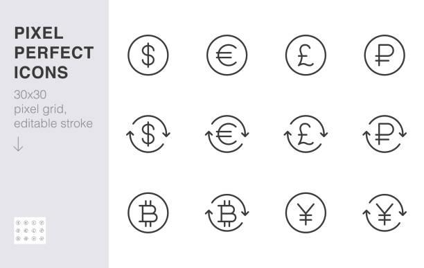 환전 라인 아이콘 세트입니다. 달러, 유로, 파운드, 러시아 루블, 엔, 비트 코인 최소 벡터 일러스트. 금융 응용 프로그램에 대한 간단한 개요 돈 기호. 30x30 픽셀 완벽한 편집 가능한 스트로크 - 영국 화폐 단위 stock illustrations