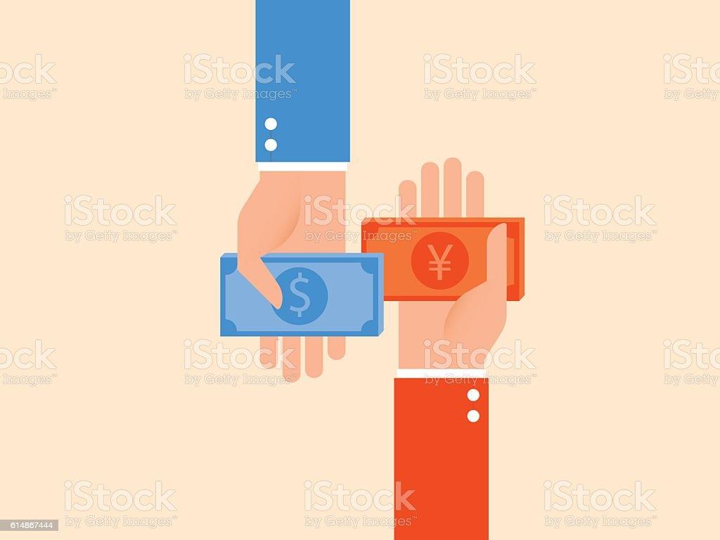 Currency exchange, money exchange ベクターアートイラスト