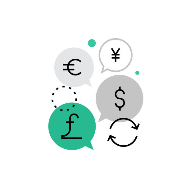 Currency Exchange Monoflat Icon Modern vector icon of currency exchange function, money converting and circulation. Premium quality vector illustration concept. Flat line icon symbol. Flat design image isolated on white background. yuan symbol stock illustrations