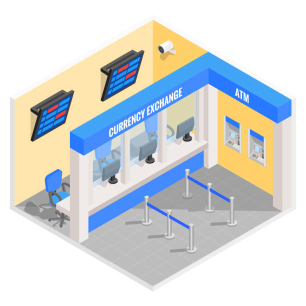 Currency exchange office in isometric style design. Vector flat 3d finance and money isolated icons and elements. Currency exchange booth interior vector art illustration