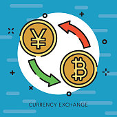 A flat design thin line Bitcoin and cryptocurrency icon with small openings in the outlines to add some character. Color swatches are global so it's easy to edit and change the colors.
