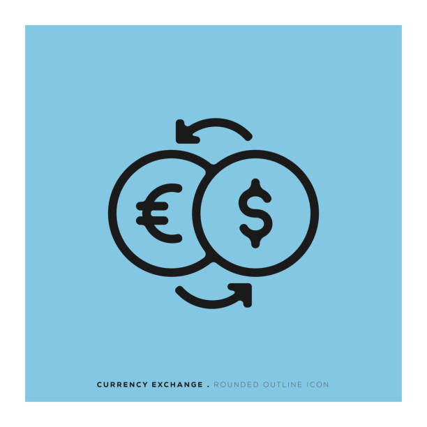 Currency Exchange Rounded Line Icon Currency Exchange Rounded Line Icon exchange rate stock illustrations