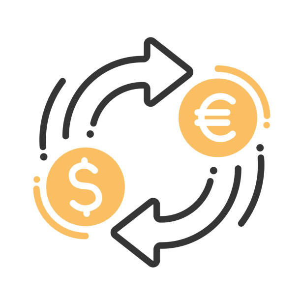 Currency exchange single icon Currency exchange single isolated modern vector line design icon with dollar, euro signs exchange rate stock illustrations
