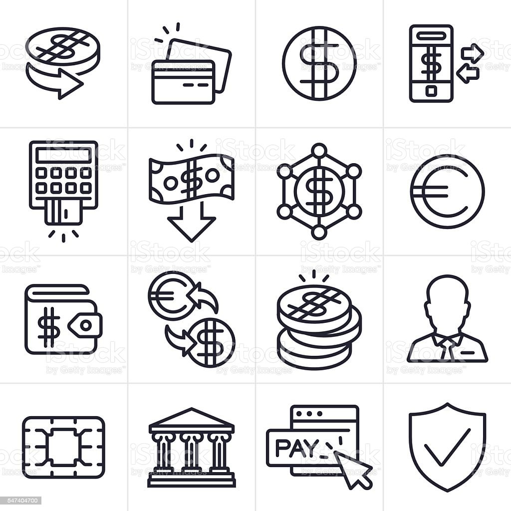 Currency Finance and Banking Icons and Symbols vector art illustration