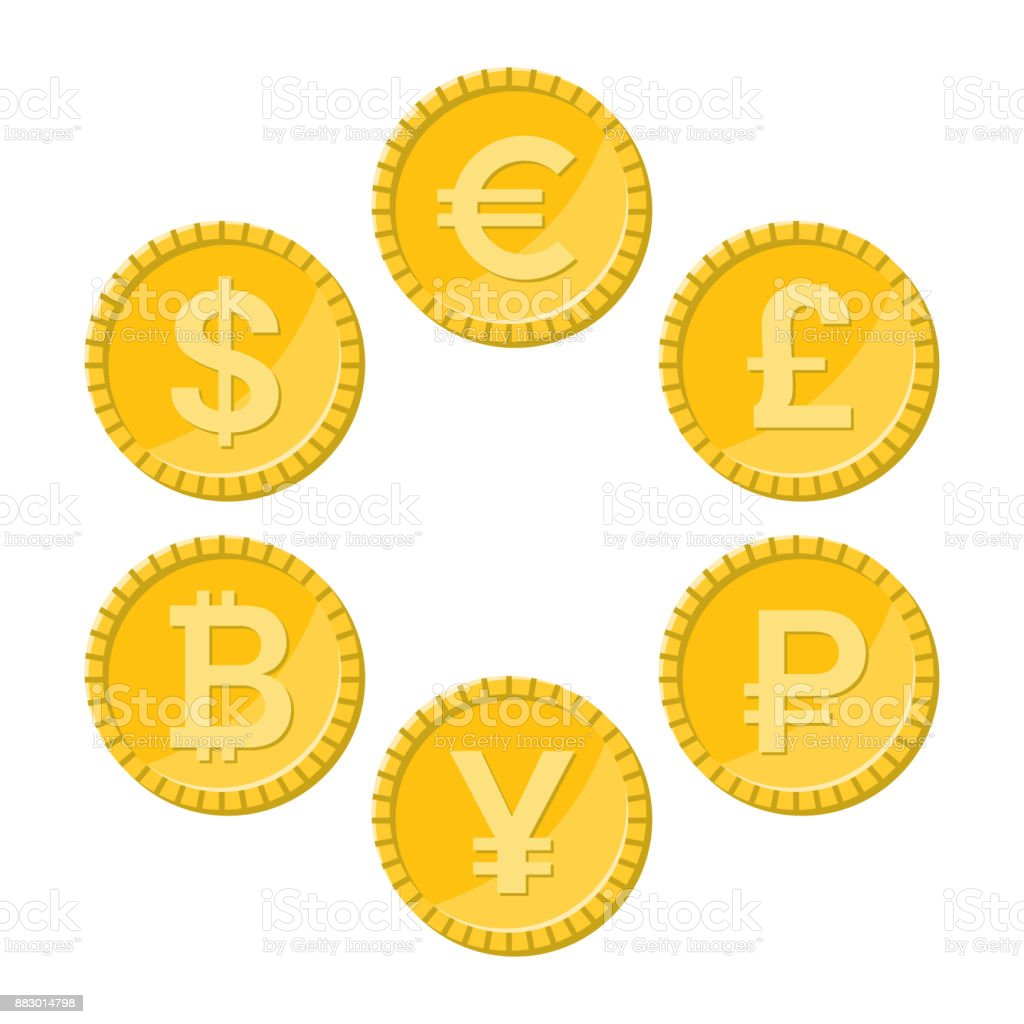Currency flat icon set, golden vector coins vector art illustration