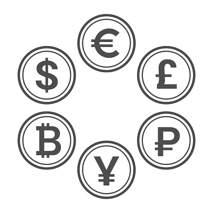 Currency flat icon set. Euro, dollar, bitcoin, yuan, ruble and pound sterling line style vector coins