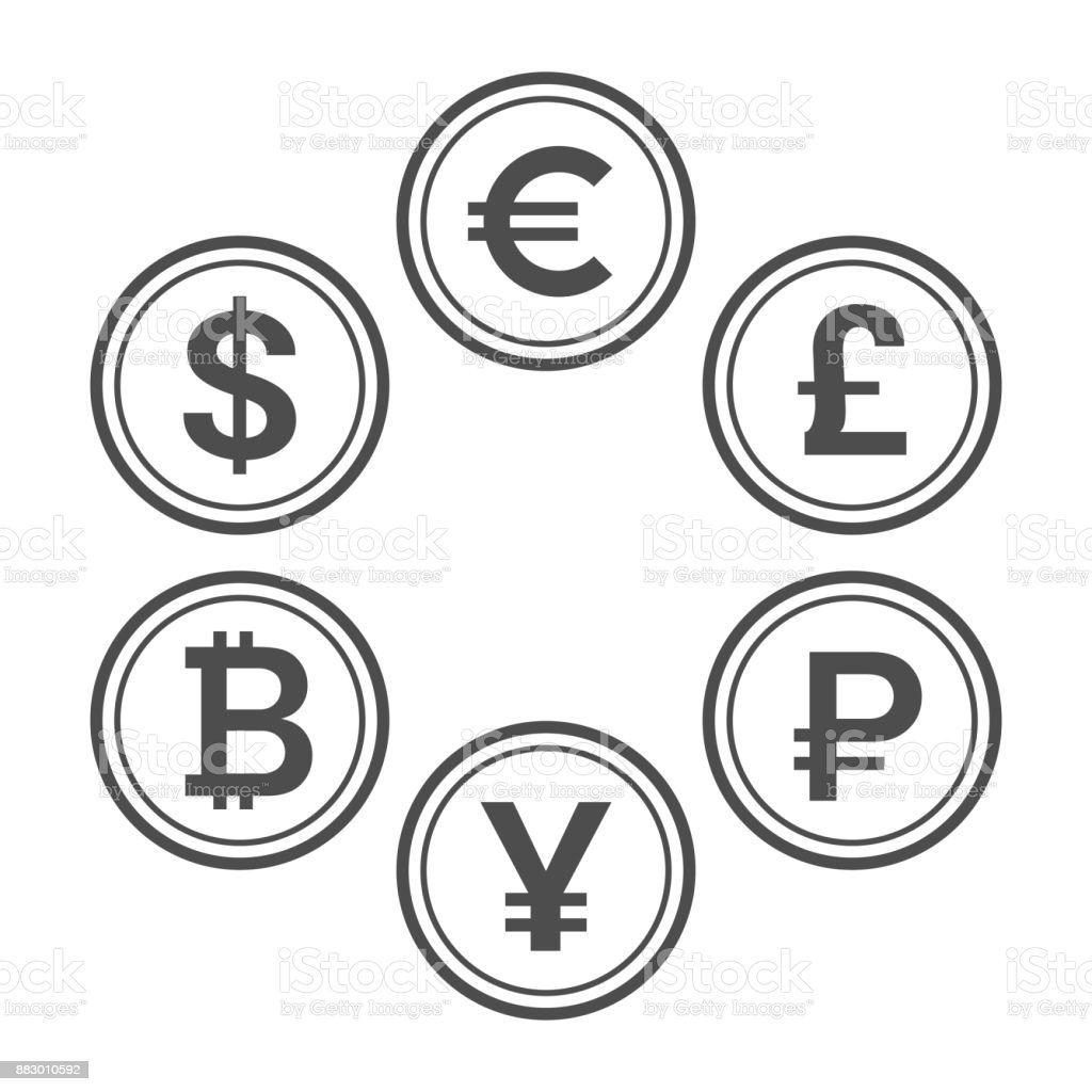 Currency flat icon set, line style vector coins vector art illustration
