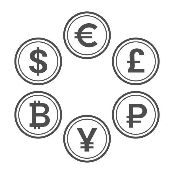Currency flat icon set, line style vector coins Currency flat icon set. Euro, dollar, bitcoin, yuan, ruble and pound sterling line style vector coins yuan symbol stock illustrations