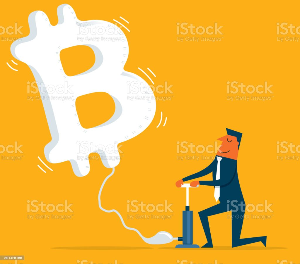 currency flying - Bitcoin vector art illustration