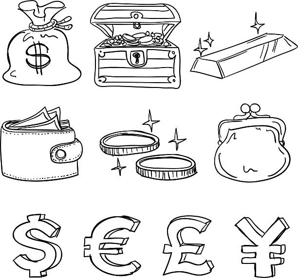 Currency icon in black and white Currency icon in sketch style, Black and White change purse stock illustrations