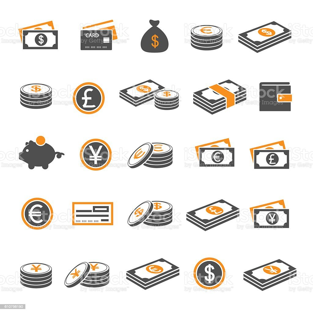 Currency icon set vector art illustration