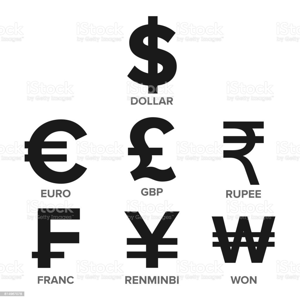 Currency Icon Set Vector. Money. Famous World Currency. Finance Illustration. Dollar, Euro, GBP, Rupee, Franc, Renminbi Yuan, Won. Isolated vector art illustration