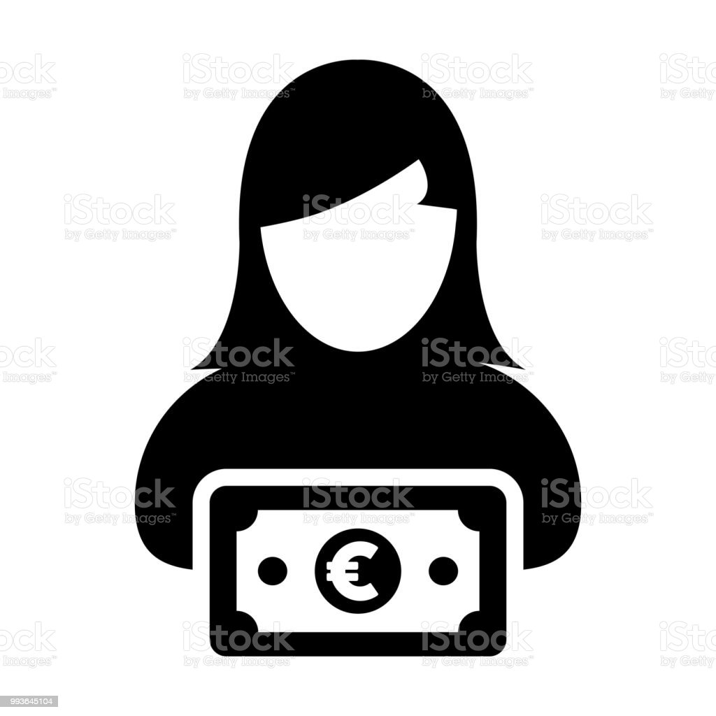 Currency Icon Vector Female User Person Profile Avatar With Euro