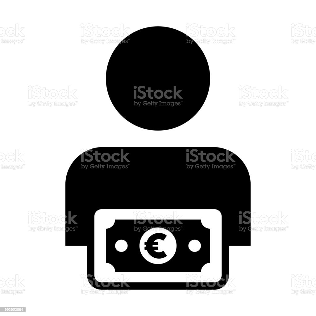 Currency Icon Vector Male User Person Profile Avatar With Euro Money