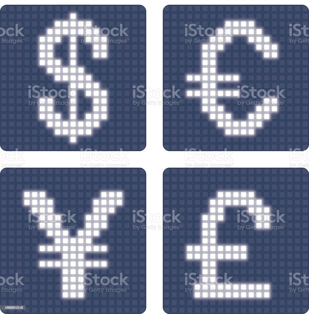 Currency Icons Dollar Euro Yen Pound Sign Glowing Pixel Grid Stock