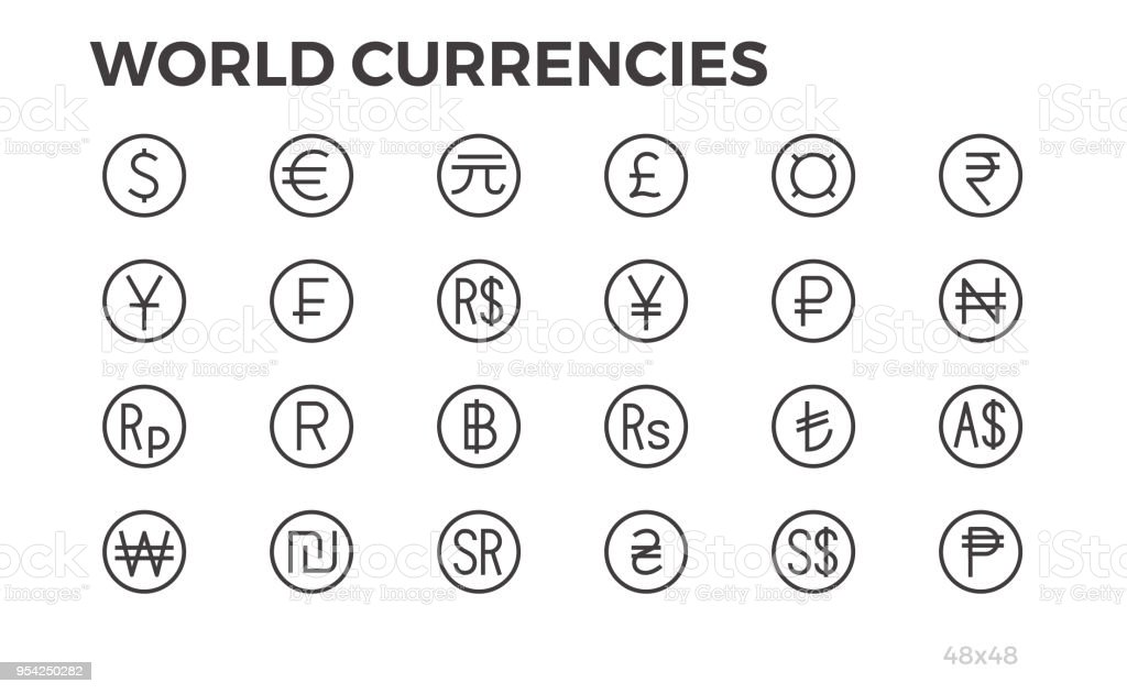 Currency Icons Dollar Euro Yuan And Other Symbols 48x48 Editable