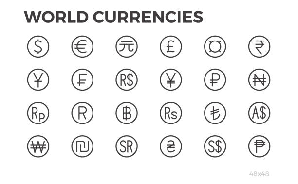 currency icons. dollar, euro, yuan and other symbols. 48x48. editable line. - британская валюта stock illustrations