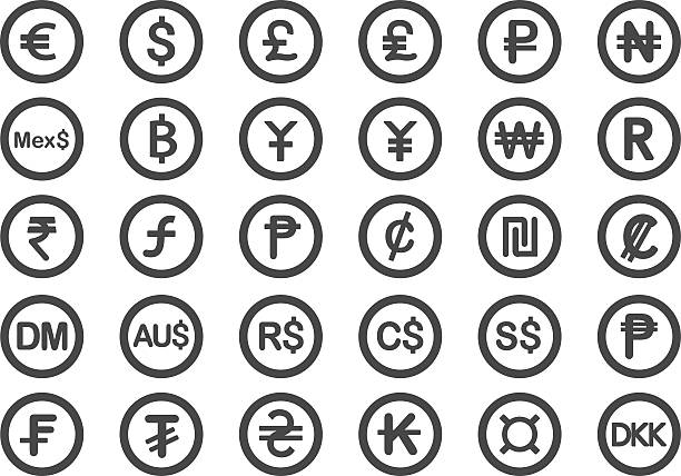 Currency icons - Illustration Currency icons - Illustration taiwanese currency stock illustrations