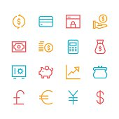 Currency icons - line - color series