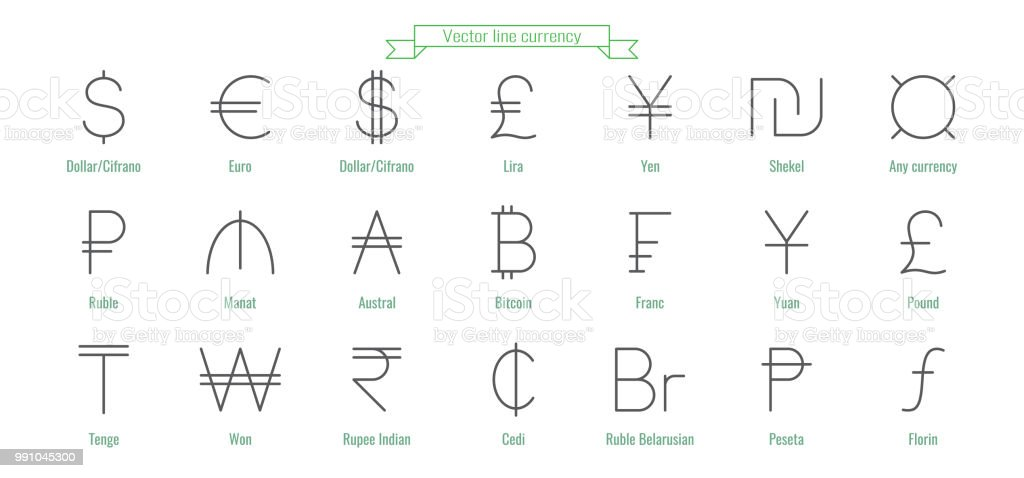 Currency Icons Money Signs Of Different Countries Dollar Bitcoin