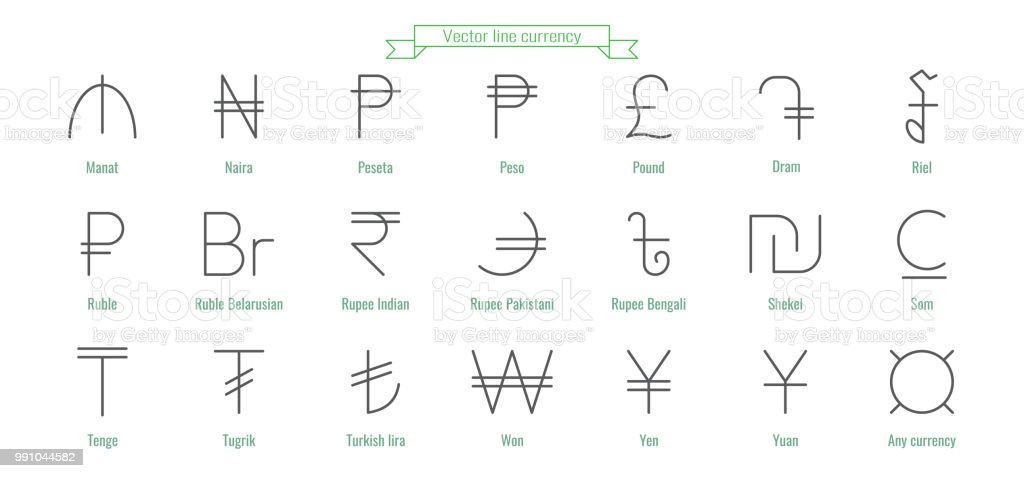 Currency Icons Money Signs Of Different Countries Stock Vector Art