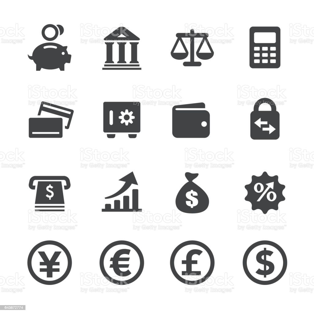 Currency Icons Set - Acme Series vector art illustration