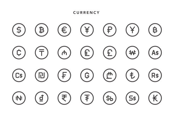 stockillustraties, clipart, cartoons en iconen met valutapictogrammen - thaise munt