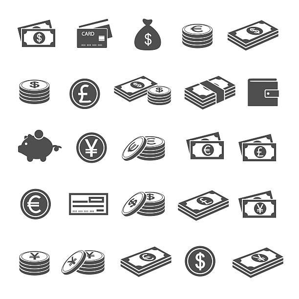 Currency icons Currency icons european union currency stock illustrations
