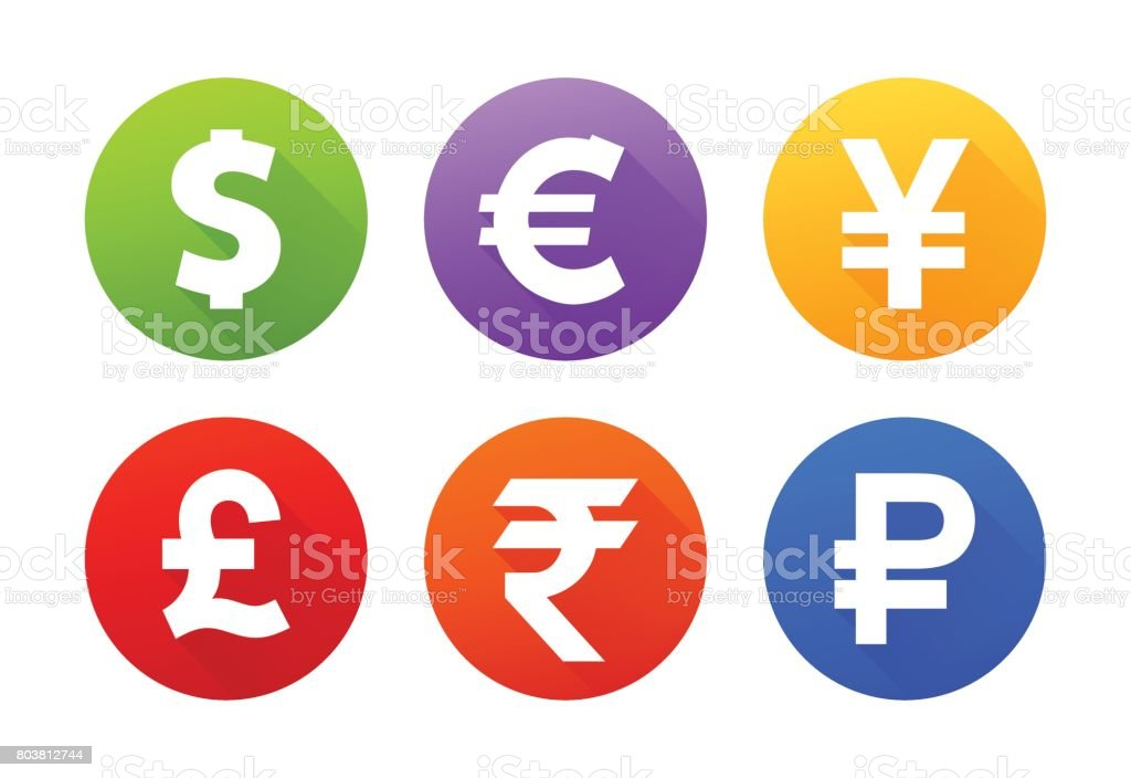 Currency icons with shadow vector art illustration