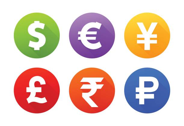Currency icons with shadow Currency icons japanese currency stock illustrations