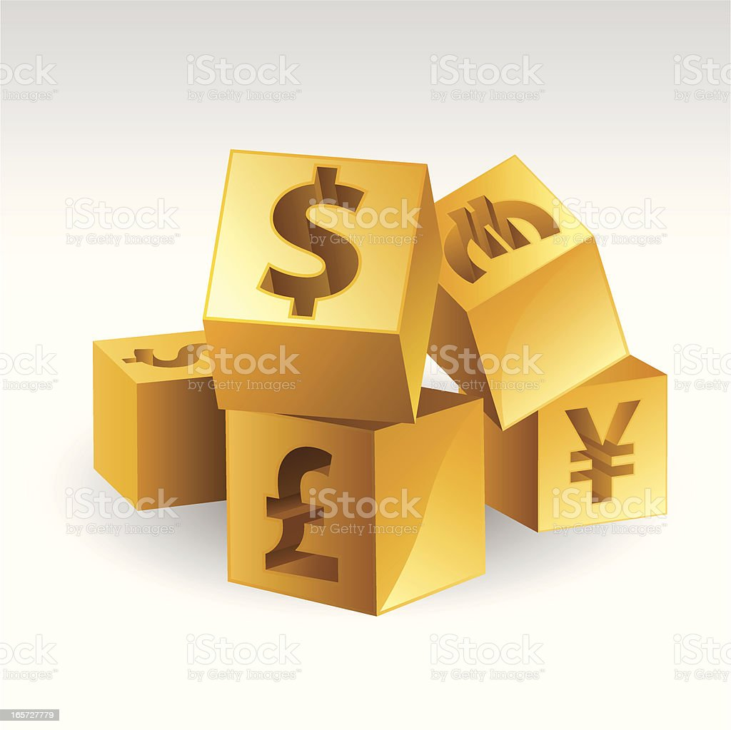 Currency In Gold Block vector art illustration