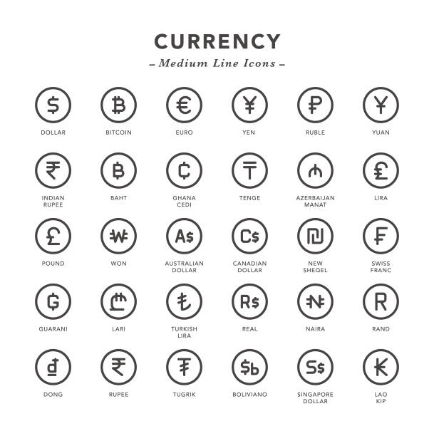 Currency - Medium Line Icons Currency - Medium Line Icons - Vector EPS 10 File, Pixel Perfect 30 Icons. chinese currency stock illustrations