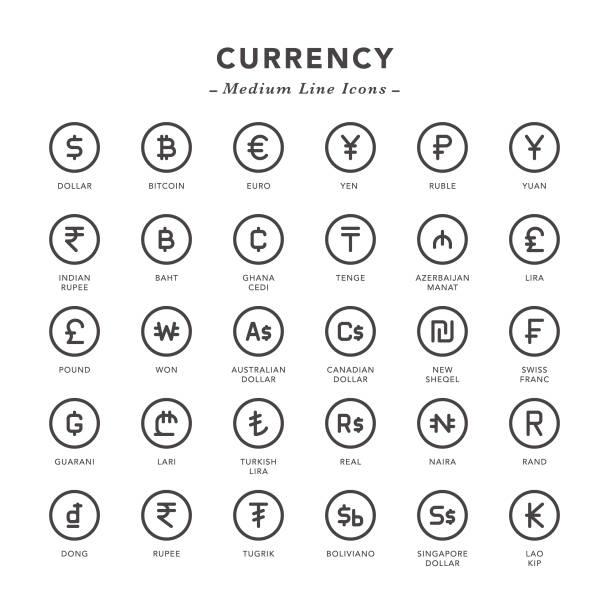 stockillustraties, clipart, cartoons en iconen met valuta - middellange lijn pictogrammen - franken