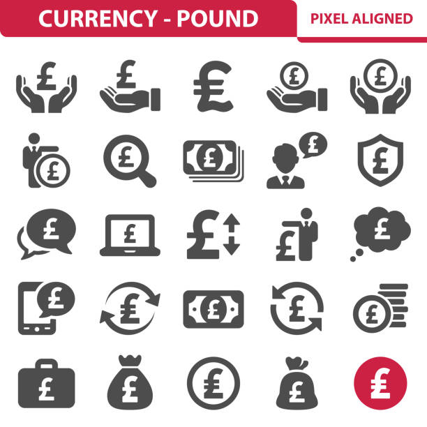 currency- pound icons - британская валюта stock illustrations