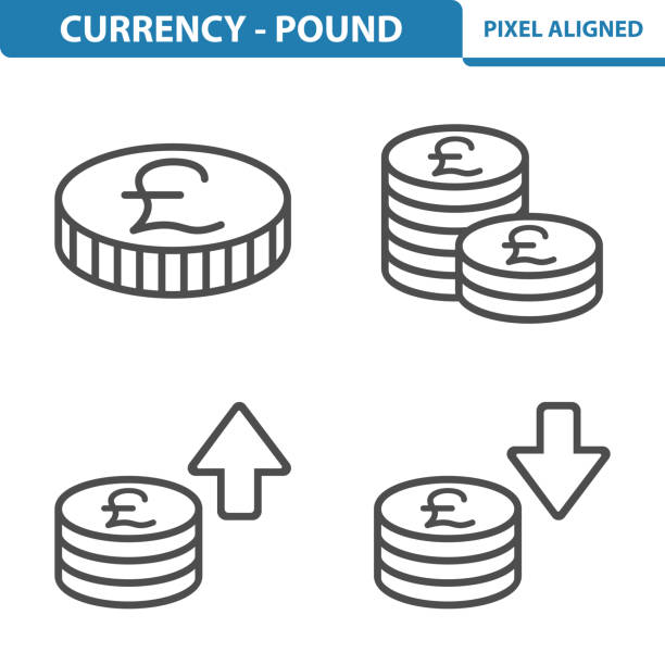 currency - pound icons - британская валюта stock illustrations