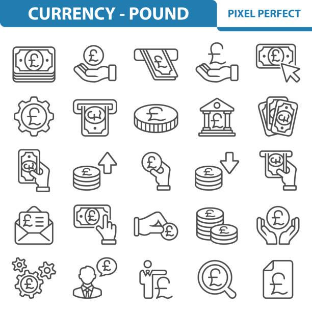 통화-파운드 아이콘 - 영국 화폐 단위 stock illustrations