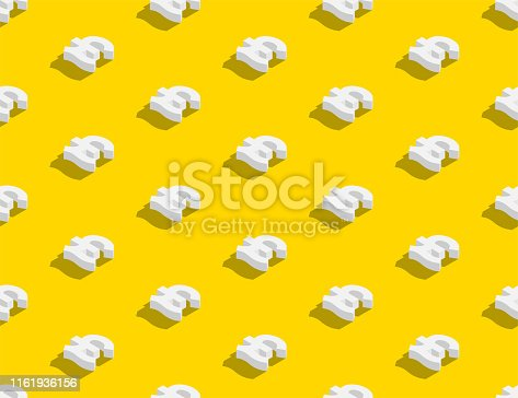 Currency pound sterling (GBP) sign 3d isometric seamless pattern, Business finance concept poster and banner design illustration isolated on yellow background with copy space, vector eps 10