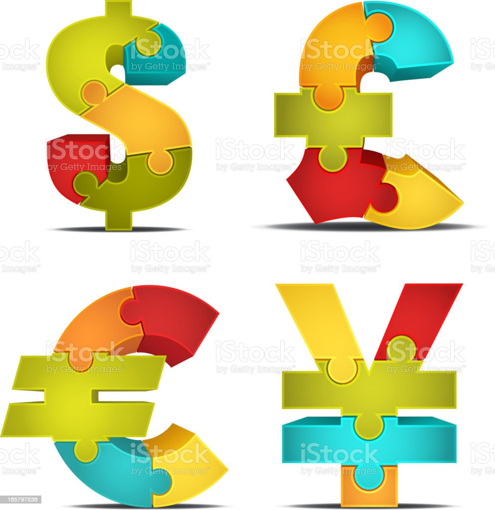 3D Currency Puzzle royalty-free 3d currency puzzle stock vector art & more images of blue