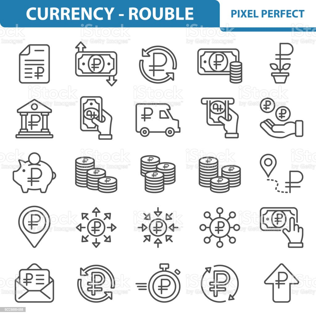Currency - Rouble Icons vector art illustration