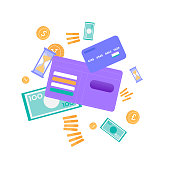Levitating Money Golden Coins Banknote Plastic Credit Card Open Wallet Hourglass Vector Flat Illustration Savings Money Business Success Saving Accumulating Earnings Monthly Income Storage Methods
