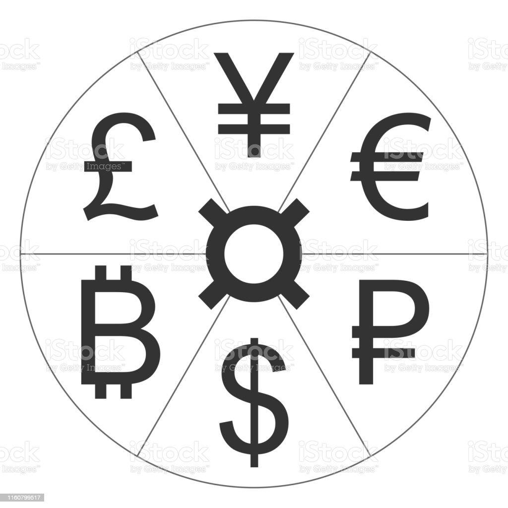 Signe De Devise Euro Rouble Dollar Bitcoin Livre Sterling