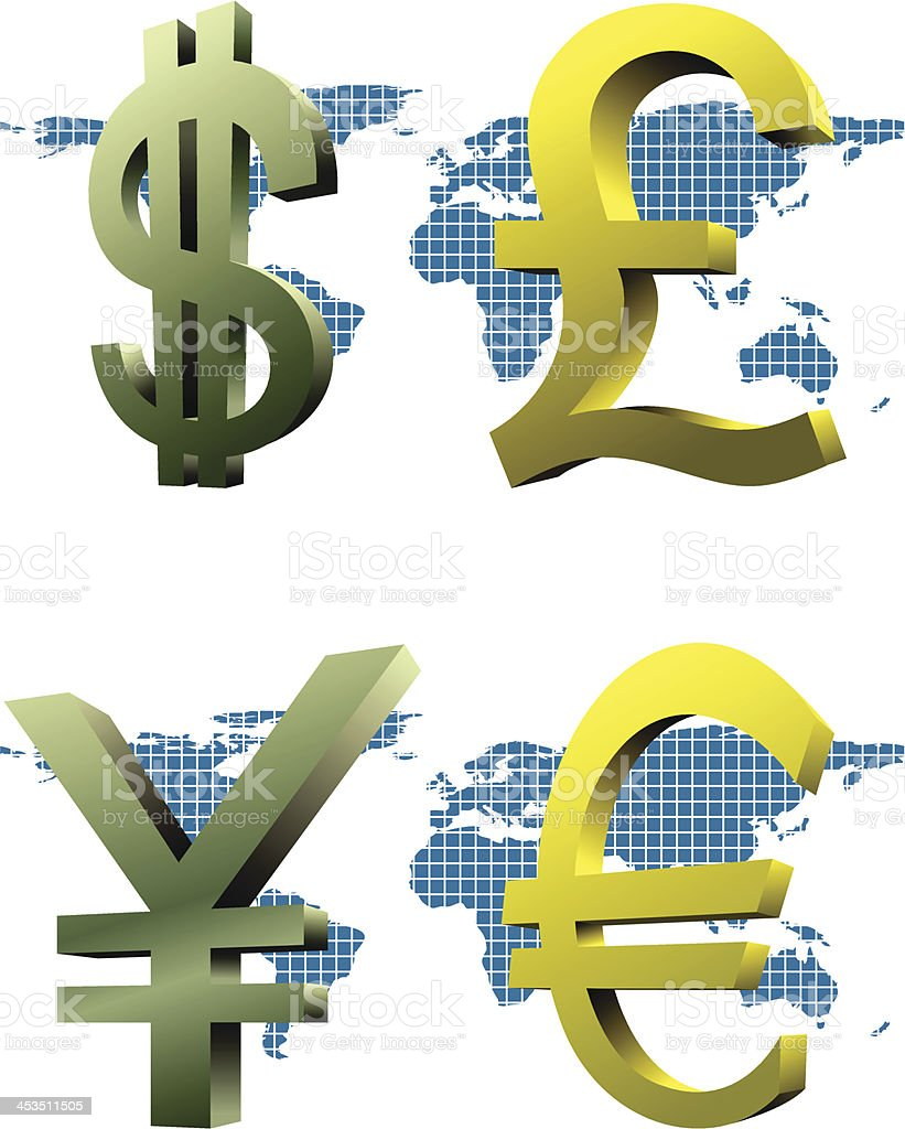 Currency Signs royalty-free stock vector art